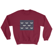 8 Paper Boats Unisex Crewneck Sweatshirt, Collection Origami Boat-Maroon-S-Tamed Winds-tshirt-shop-and-sailing-blog-www-tamedwinds-com