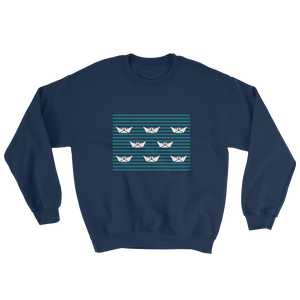 8 Paper Boats Unisex Crewneck Sweatshirt, Collection Origami Boat-Navy-S-Tamed Winds-tshirt-shop-and-sailing-blog-www-tamedwinds-com