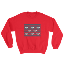 8 Paper Boats Unisex Crewneck Sweatshirt, Collection Origami Boat-Red-S-Tamed Winds-tshirt-shop-and-sailing-blog-www-tamedwinds-com