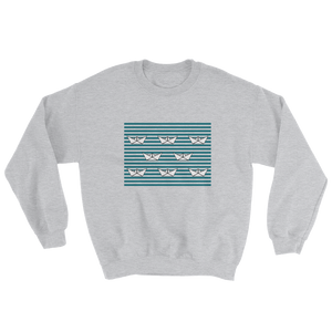 8 Paper Boats Unisex Crewneck Sweatshirt, Collection Origami Boat-Sport Grey-S-Tamed Winds-tshirt-shop-and-sailing-blog-www-tamedwinds-com