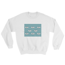 8 Paper Boats Unisex Crewneck Sweatshirt, Collection Origami Boat-White-S-Tamed Winds-tshirt-shop-and-sailing-blog-www-tamedwinds-com