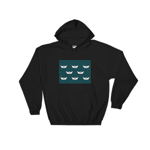 8 Paper Boats Unisex Hooded Sweatshirt, Collection Origami Boat-Black-S-Tamed Winds-tshirt-shop-and-sailing-blog-www-tamedwinds-com