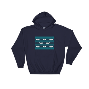 8 Paper Boats Unisex Hooded Sweatshirt, Collection Origami Boat-Navy-S-Tamed Winds-tshirt-shop-and-sailing-blog-www-tamedwinds-com