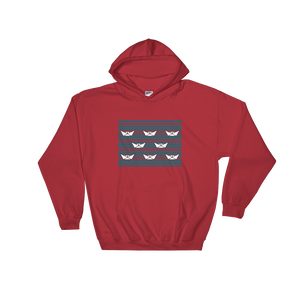 8 Paper Boats Unisex Hooded Sweatshirt, Collection Origami Boat-Red-S-Tamed Winds-tshirt-shop-and-sailing-blog-www-tamedwinds-com