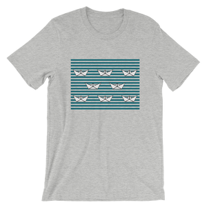 8 Paper Boats Unisex T-Shirt, Collection Origami Boat-Athletic Heather-S-Tamed Winds-tshirt-shop-and-sailing-blog-www-tamedwinds-com