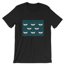 8 Paper Boats Unisex T-Shirt, Collection Origami Boat-Black-S-Tamed Winds-tshirt-shop-and-sailing-blog-www-tamedwinds-com