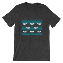 8 Paper Boats Unisex T-Shirt, Collection Origami Boat-Dark Grey Heather-S-Tamed Winds-tshirt-shop-and-sailing-blog-www-tamedwinds-com