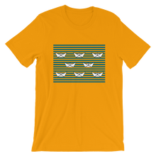 8 Paper Boats Unisex T-Shirt, Collection Origami Boat-Gold-S-Tamed Winds-tshirt-shop-and-sailing-blog-www-tamedwinds-com