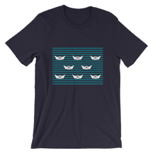 8 Paper Boats Unisex T-Shirt, Collection Origami Boat-Navy-S-Tamed Winds-tshirt-shop-and-sailing-blog-www-tamedwinds-com