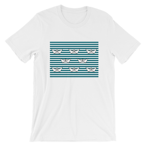 8 Paper Boats Unisex T-Shirt, Collection Origami Boat-White-S-Tamed Winds-tshirt-shop-and-sailing-blog-www-tamedwinds-com