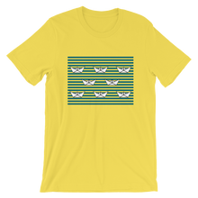 8 Paper Boats Unisex T-Shirt, Collection Origami Boat-Yellow-S-Tamed Winds-tshirt-shop-and-sailing-blog-www-tamedwinds-com
