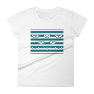 8 Paper Boats Women's Round Neck T-Shirt, Collection Origami Boat-White-S-Tamed Winds-tshirt-shop-and-sailing-blog-www-tamedwinds-com