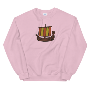Ancient Greek Odysseus Ship Unisex Crewneck Sweatshirt, Collection Ships & Boats-Light Pink-S-Tamed Winds-tshirt-shop-and-sailing-blog-www-tamedwinds-com