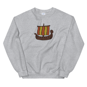 Ancient Greek Odysseus Ship Unisex Crewneck Sweatshirt, Collection Ships & Boats-Sport Grey-S-Tamed Winds-tshirt-shop-and-sailing-blog-www-tamedwinds-com