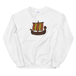 Ancient Greek Odysseus Ship Unisex Crewneck Sweatshirt, Collection Ships & Boats-White-S-Tamed Winds-tshirt-shop-and-sailing-blog-www-tamedwinds-com