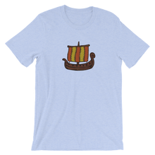 Ancient Greek Odysseus Ship Unisex T-Shirt, Collection Ships & Boats-Heather Blue-S-Tamed Winds-tshirt-shop-and-sailing-blog-www-tamedwinds-com