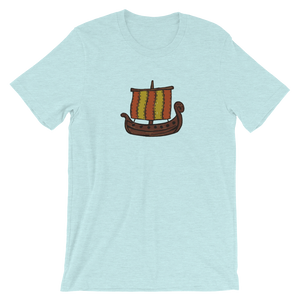 Ancient Greek Odysseus Ship Unisex T-Shirt, Collection Ships & Boats-Heather Prism Ice Blue-XS-Tamed Winds-tshirt-shop-and-sailing-blog-www-tamedwinds-com