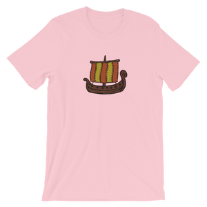 Ancient Greek Odysseus Ship Unisex T-Shirt, Collection Ships & Boats-Pink-S-Tamed Winds-tshirt-shop-and-sailing-blog-www-tamedwinds-com
