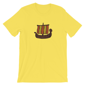 Ancient Greek Odysseus Ship Unisex T-Shirt, Collection Ships & Boats-Yellow-S-Tamed Winds-tshirt-shop-and-sailing-blog-www-tamedwinds-com