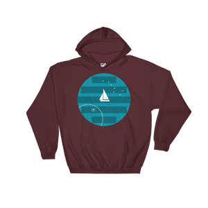 Big Dipper Unisex Hooded Sweatshirt, Collection Fjaka-Maroon-S-Tamed Winds-tshirt-shop-and-sailing-blog-www-tamedwinds-com