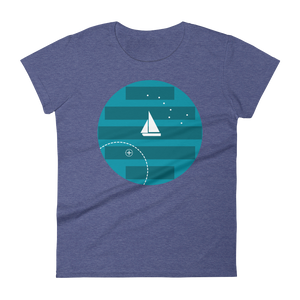 Big Dipper Women's Round Neck T-Shirt, Collection Fjaka-Heather Blue-S-Tamed Winds-tshirt-shop-and-sailing-blog-www-tamedwinds-com