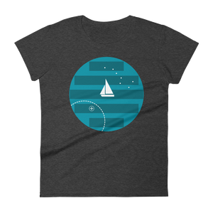 Big Dipper Women's Round Neck T-Shirt, Collection Fjaka-Heather Dark Grey-S-Tamed Winds-tshirt-shop-and-sailing-blog-www-tamedwinds-com