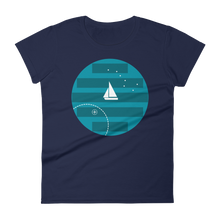 Big Dipper Women's Round Neck T-Shirt, Collection Fjaka-Navy-S-Tamed Winds-tshirt-shop-and-sailing-blog-www-tamedwinds-com