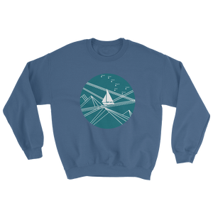 Blue Stormy Big Dipper Unisex Crewneck Sweatshirt, Collection Fjaka-Indigo Blue-S-Tamed Winds-tshirt-shop-and-sailing-blog-www-tamedwinds-com