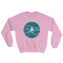 Blue Stormy Big Dipper Unisex Crewneck Sweatshirt, Collection Fjaka-Light Pink-S-Tamed Winds-tshirt-shop-and-sailing-blog-www-tamedwinds-com