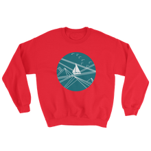 Blue Stormy Big Dipper Unisex Crewneck Sweatshirt, Collection Fjaka-Red-S-Tamed Winds-tshirt-shop-and-sailing-blog-www-tamedwinds-com