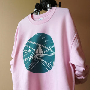 Blue Stormy Big Dipper Unisex Crewneck Sweatshirt, Collection Fjaka-Tamed Winds-tshirt-shop-and-sailing-blog-www-tamedwinds-com