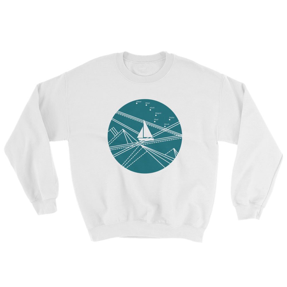 Blue Stormy Big Dipper Unisex Crewneck Sweatshirt, Collection Fjaka-White-S-Tamed Winds-tshirt-shop-and-sailing-blog-www-tamedwinds-com