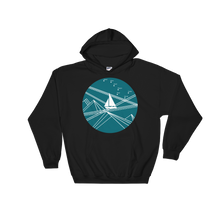 Blue Stormy Big Dipper Unisex Hooded Sweatshirt, Collection Fjaka-Black-S-Tamed Winds-tshirt-shop-and-sailing-blog-www-tamedwinds-com
