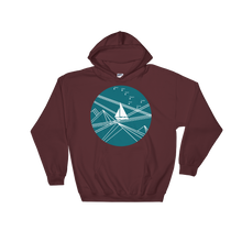 Blue Stormy Big Dipper Unisex Hooded Sweatshirt, Collection Fjaka-Maroon-S-Tamed Winds-tshirt-shop-and-sailing-blog-www-tamedwinds-com
