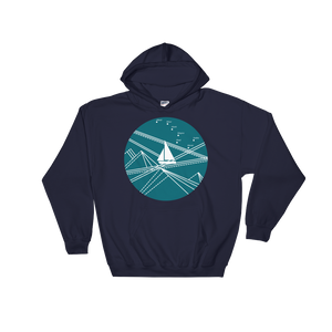 Blue Stormy Big Dipper Unisex Hooded Sweatshirt, Collection Fjaka-Navy-S-Tamed Winds-tshirt-shop-and-sailing-blog-www-tamedwinds-com