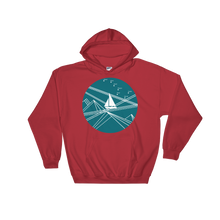 Blue Stormy Big Dipper Unisex Hooded Sweatshirt, Collection Fjaka-Red-S-Tamed Winds-tshirt-shop-and-sailing-blog-www-tamedwinds-com