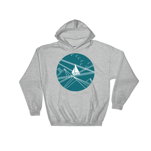 Blue Stormy Big Dipper Unisex Hooded Sweatshirt, Collection Fjaka-Sport Grey-S-Tamed Winds-tshirt-shop-and-sailing-blog-www-tamedwinds-com