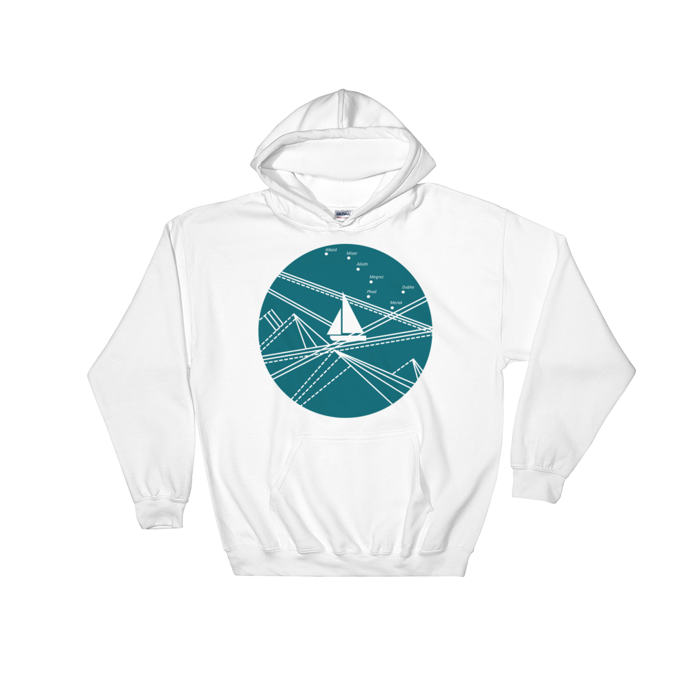 Blue Stormy Big Dipper Unisex Hooded Sweatshirt, Collection Fjaka-White-S-Tamed Winds-tshirt-shop-and-sailing-blog-www-tamedwinds-com