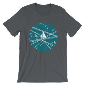 Blue Stormy Big Dipper Unisex T-Shirt, Collection Fjaka-Asphalt-S-Tamed Winds-tshirt-shop-and-sailing-blog-www-tamedwinds-com
