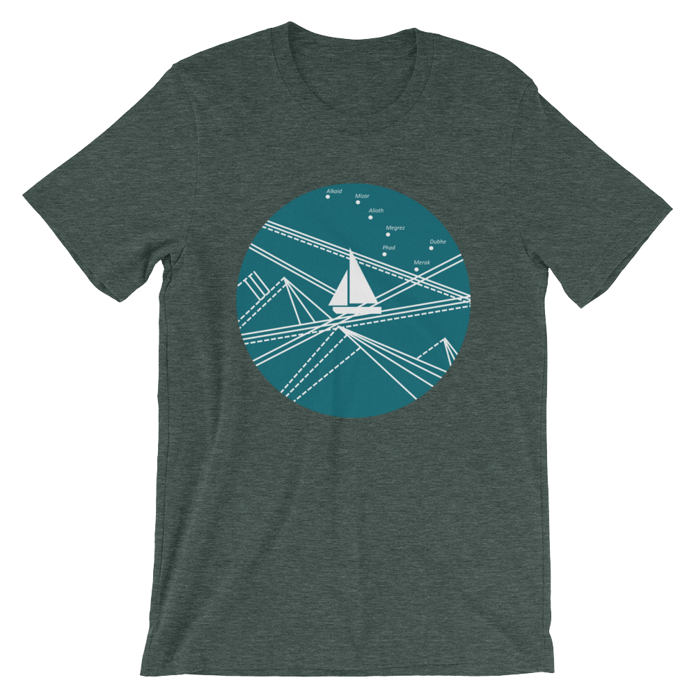 Blue Stormy Big Dipper Unisex T-Shirt, Collection Fjaka-Heather Forest-S-Tamed Winds-tshirt-shop-and-sailing-blog-www-tamedwinds-com