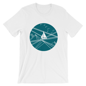 Blue Stormy Big Dipper Unisex T-Shirt, Collection Fjaka-White-S-Tamed Winds-tshirt-shop-and-sailing-blog-www-tamedwinds-com