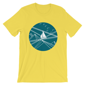 Blue Stormy Big Dipper Unisex T-Shirt, Collection Fjaka-Yellow-S-Tamed Winds-tshirt-shop-and-sailing-blog-www-tamedwinds-com