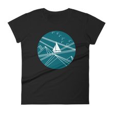 Blue Stormy Big Dipper Women's Round Neck T-Shirt, Collection Fjaka-Black-S-Tamed Winds-tshirt-shop-and-sailing-blog-www-tamedwinds-com