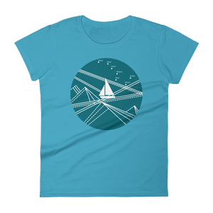 Blue Stormy Big Dipper Women's Round Neck T-Shirt, Collection Fjaka-Caribbean Blue-S-Tamed Winds-tshirt-shop-and-sailing-blog-www-tamedwinds-com