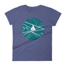 Blue Stormy Big Dipper Women's Round Neck T-Shirt, Collection Fjaka-Heather Blue-S-Tamed Winds-tshirt-shop-and-sailing-blog-www-tamedwinds-com