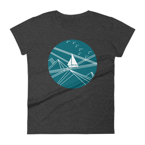 Blue Stormy Big Dipper Women's Round Neck T-Shirt, Collection Fjaka-Heather Dark Grey-S-Tamed Winds-tshirt-shop-and-sailing-blog-www-tamedwinds-com