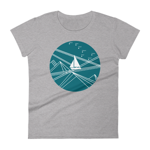 Blue Stormy Big Dipper Women's Round Neck T-Shirt, Collection Fjaka-Heather Grey-S-Tamed Winds-tshirt-shop-and-sailing-blog-www-tamedwinds-com
