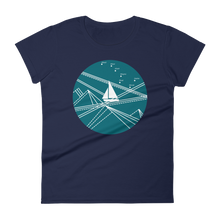 Blue Stormy Big Dipper Women's Round Neck T-Shirt, Collection Fjaka-Navy-S-Tamed Winds-tshirt-shop-and-sailing-blog-www-tamedwinds-com
