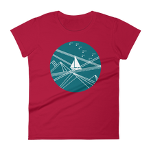 Blue Stormy Big Dipper Women's Round Neck T-Shirt, Collection Fjaka-Red-S-Tamed Winds-tshirt-shop-and-sailing-blog-www-tamedwinds-com