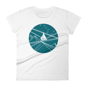 Blue Stormy Big Dipper Women's Round Neck T-Shirt, Collection Fjaka-White-S-Tamed Winds-tshirt-shop-and-sailing-blog-www-tamedwinds-com